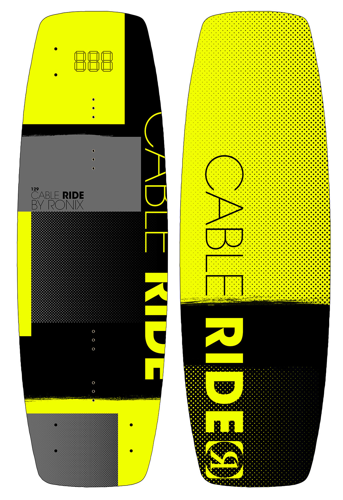 CABLE RIDE 129 JR. WAKEBOARD - YELLOW RONIX 2018