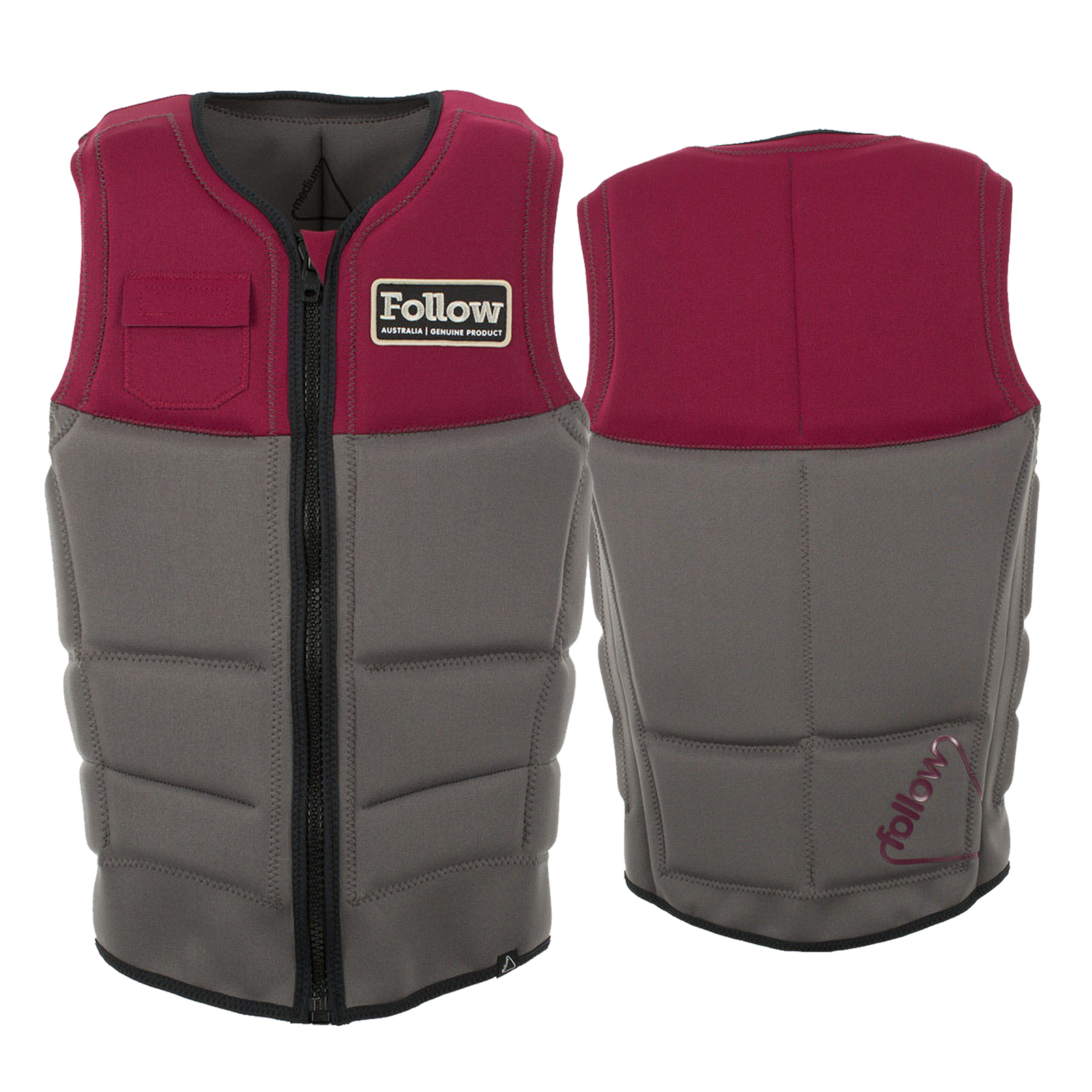 STOW COOK CE IMPACT VEST MAROON/GREY FOLLOW 2017