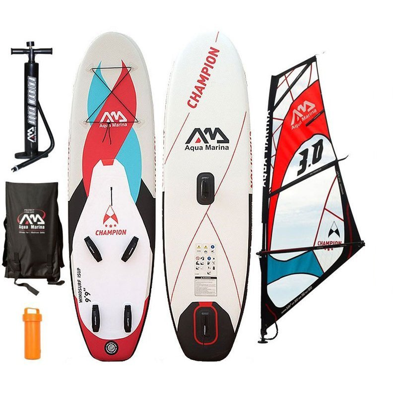 CHAMPION INFLATABLE SUP BOARD PACKAGE W/WINDSURF RIG AQUA MARINA 2017