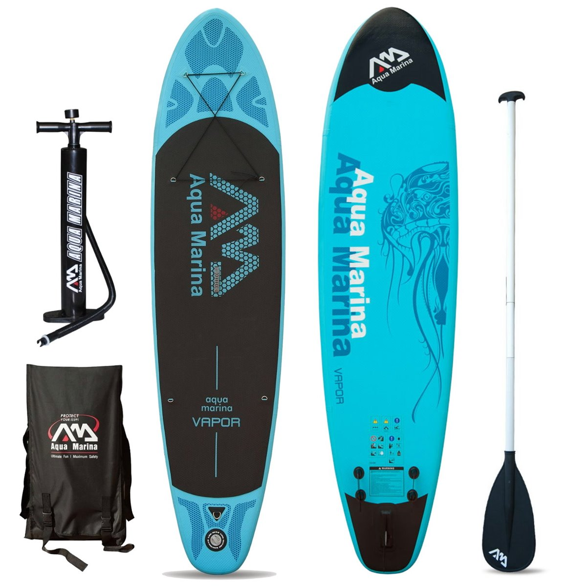 VAPOR INFLATABLE SUP BOARD PACKAGE W/PADDLE AQUA MARINA 2017
